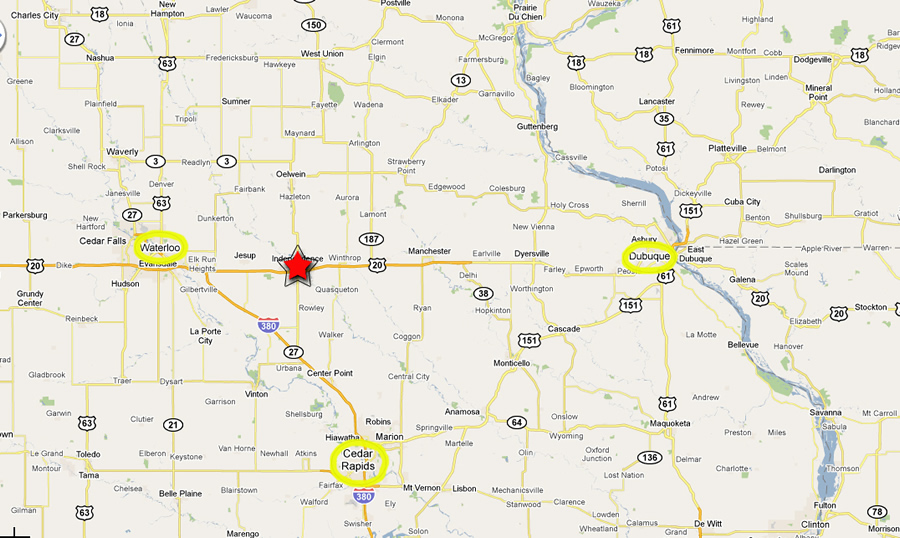 Map of Waterloo, Cedar Rapids, and Dubuque to Hunter Auto Sales in Independence, Iowa.